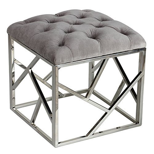 Contemporary Vanity Bench (Cortesi Home Kora Contemporary Metal Cube, Grey)