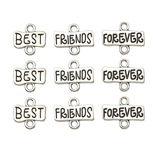90pcs Antique Silver Inspiration Words Best Friends Forever Connector Charms Craft Supplies Tag Charms Pendants for Crafting,Bracelet Charms Jewelry Making ()