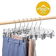 HOUSE DAY 100 Pack 14 inch Clear Plastic Skirt Hangers with Clips, Skirt Hangers, Clip Hangers for Pants,Trouser Bulk Plastic Pants Hangers