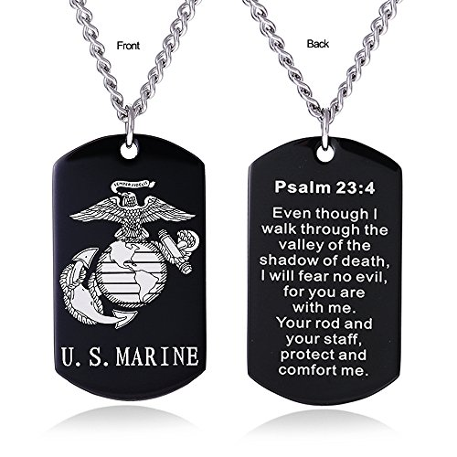 ZJFHTD USMC Marine Corps Dog Tag Necklace Jewelry for Men Semper Fidelis Bible Prayer Military Son Gift-C4(Black-Psalm 23:4)