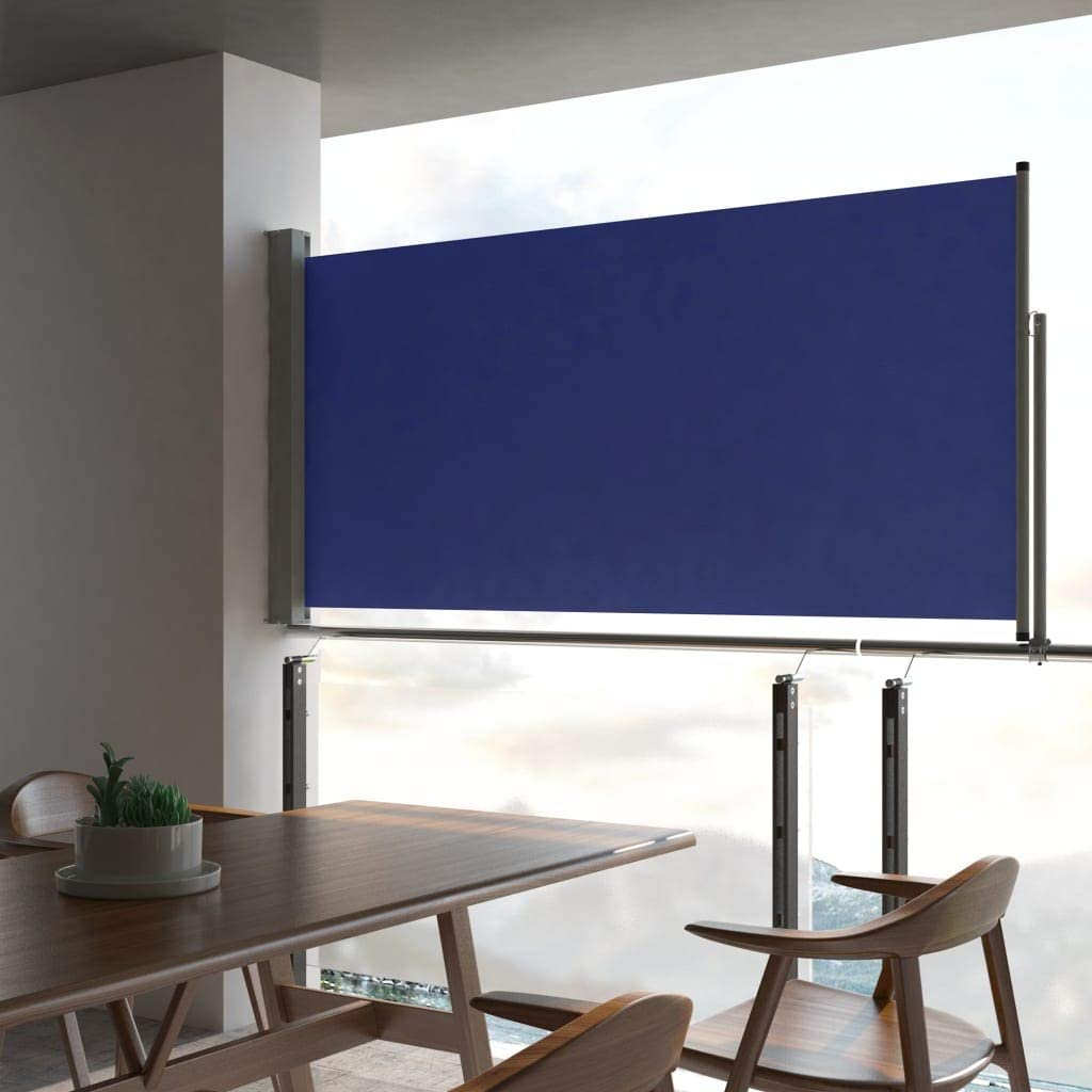 Festnight Toldo Lateral Retr/áctil de Jard/ín Toldo para Jard/ín Patio Balc/ón Terraza Azul 120x300 cm