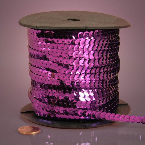 PEPPERLONELY Brand 80 Yard/Roll Metallic Faceted Sequin Trim, - Orchid Faceted
