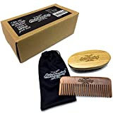 Hairstunning Boar Bristles Beard Brush and Comb Kit Perfect Mustache Grooming Set For Men With Gift Box