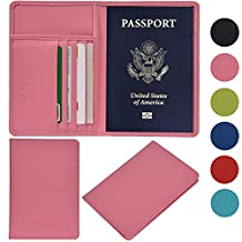 Outrip RFID Blocking Leather Passport Holder & Travel Wallet Id Card Case Cover(Pink)