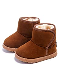 Bumud Boys Girls Faux Suede Warm Fur Winter Snow Boot Infant Walking Shoes