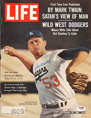 (Don Drysdale Signed 1962 LIFE Magazine Cover COA Dodgers Baseball Auto'd - PSA/DNA Certified - Autographed MLB Magazines)