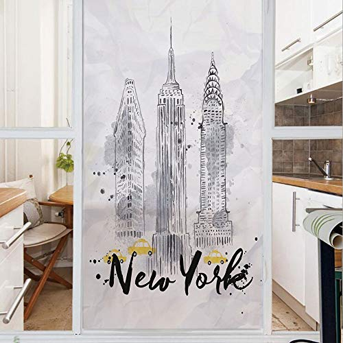 Decorative Window Film,No Glue Frosted Privacy Film,Stained Glass Door Film,Skyscrapers Empire State Building Old Wonders of American Architecture Sketch Decorative,for Home & Office,23.6In. by 78.7In