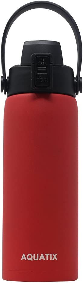 New Aquatix (Red, 21 Ounce) Pure Stainless Steel Double Wall Vacuum Insulated Sports Water Bottle Convenient Flip Top Cap with Removable Strap Handle - Keeps Drinks Cold 24 hr/Hot 6 hr