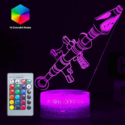 Fortress Battleroyale 3D Night Lights Illusion Effect Wall Light Lamp for Home Bedroom Deco 16 Colors Changeable & Remote Controlled Best Gifts for Game Fan Kids Adults Man (Rocket Launcher(Remote))