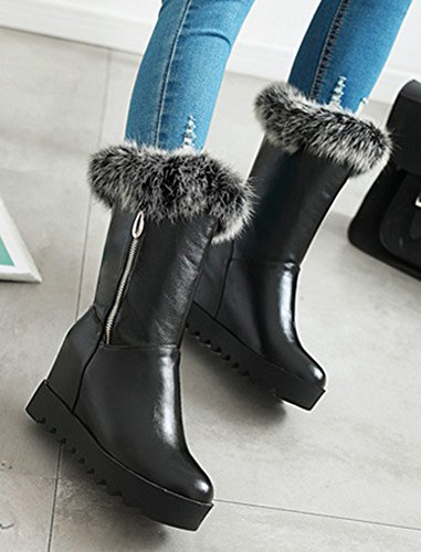 Fur Up Hidden Toe Calf Zip Mid Elevator Black Faux Women's Heel Round Warm Snow Boots Wedge Platform Aisun High With BqtWwpUn