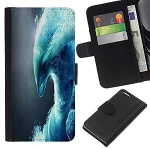A-type (Monster extracto de la onda) Colorida Impresión Funda Cuero Monedero Caja Bolsa Cubierta Caja Piel Card Slots Para Apple iPhone 5C