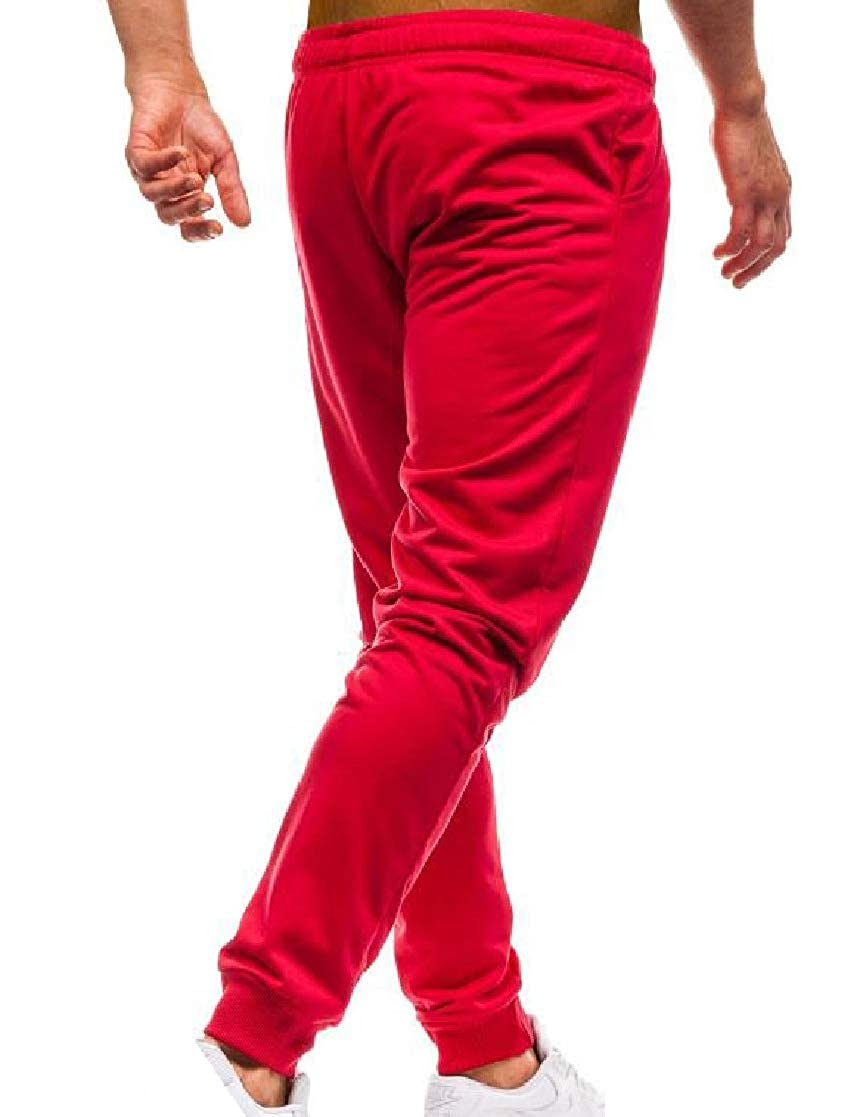 YUNY Mens Drawstring Mid-Rise Fit Comfy Solid Casual Jogger Sport Pants Red XL