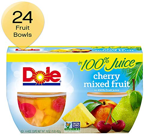 DOLE FRUIT BOWLS, Cherry Mixed Fruit in 100% Fruit Juice, 16 Ounce, Pack of 6