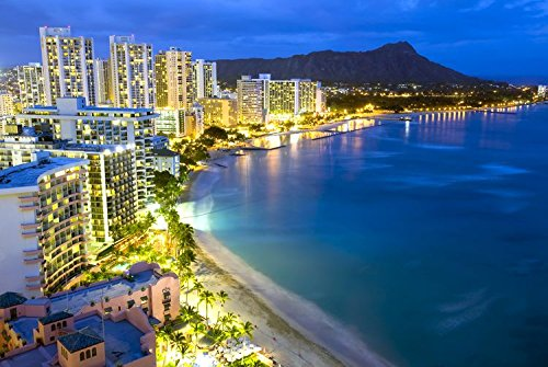Waikiki Beach Honolulu At Night Hawaii Art Poster
