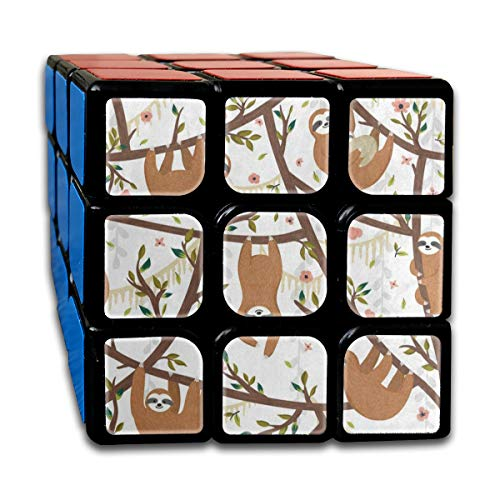 Rubiks Cube Funny Sloth Flower Floral Print Marvellous Speed Cube 3x3 Smooth Magic Square Puzzle Game Black ()