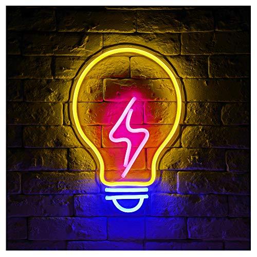 (Light Bulb LED Neon Sign Lights Art Wall Decorative Sign Lights Night Light Holiday Birthday Party Supply Kids Room Home Decor)