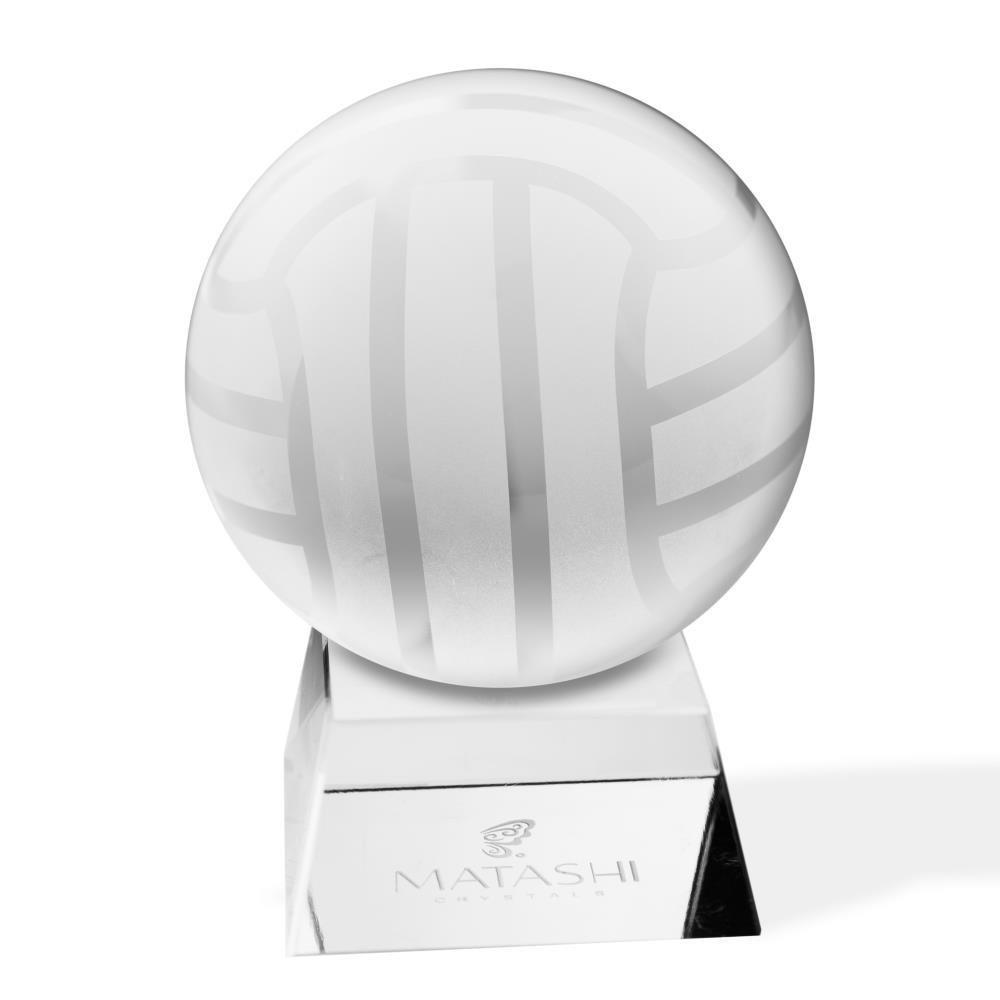 Matashi Crystal Paperweight with Stand Decorative Ball Etched Volley Ball Ornament and Trapezoid Base Home Decor Gifts, Corporate Office Gift with Gift Box by Matashi