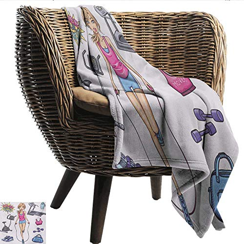 """Digital Printing Blanket Fitness Beautiful Young Cartoon Girl Working Out at Gym Bike Treadmill Outfits and Quote Ultra Soft and Warm Hypoallergenic W60""""xL80"""" Sofa,picnic,camping,beach,everyday use"""