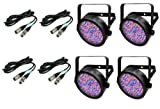 (4) Chauvet DJ SlimPar 56 LED Slim Par Can Pro RGB Lighting Effects + DMX Cables