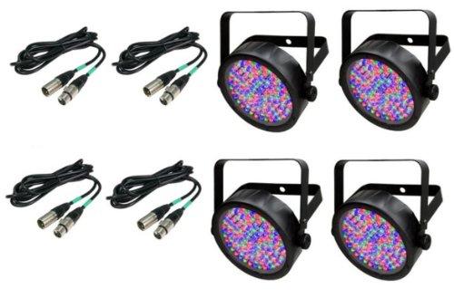 - (4) Chauvet DJ SlimPar 56 LED Slim Par Can Pro RGB Lighting Effects + DMX Cables