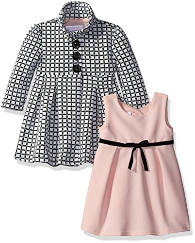 Bonnie Baby Girls' Two Piece Dress and Coat Set, Black/White, 3-6 ()