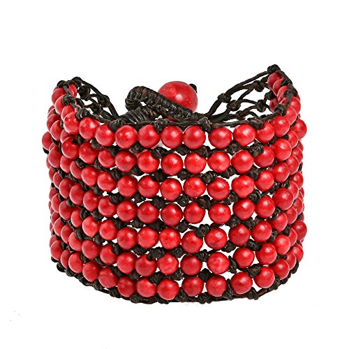 Rows Red Coral Bracelet (Pretty Seven Row Reconstructed Red Coral Net Toggle Strand Bracelet)