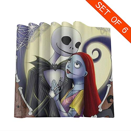 YZMZD Placemats for Dining Table Set of 6 Heat Resistant Jack & Sally Kitchen Table Mats Decoration- 12