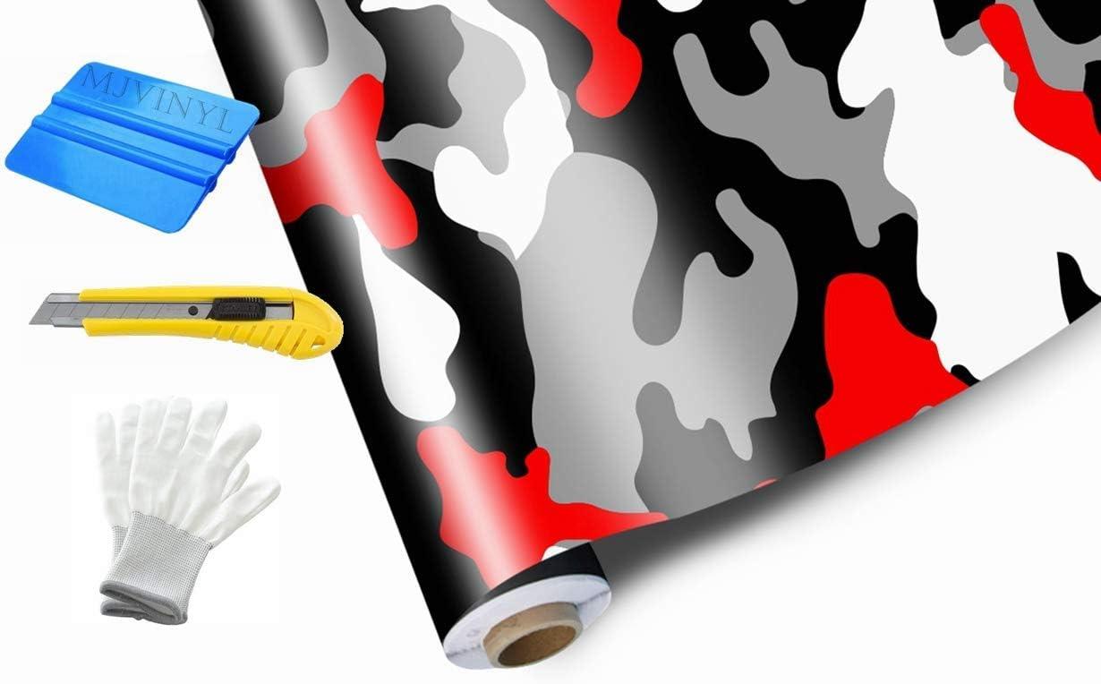 12 x 60 // 1FT x 5FT MJVINYL Camouflage Vinyl Film Wrap Decal Air Bubble Free RED Black White Gray Free Tool Kit