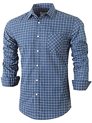 Emiqude Mens Casual Slim Fit Long Sleeve Pocket Inner Contrast Plaid Dress Shirt