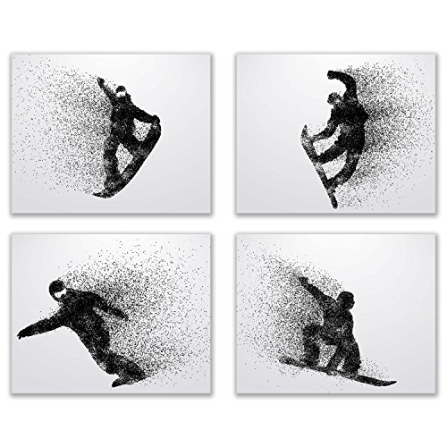 Summit Designs Snowboarding Wall Art Prints - Silhouette  Set of 4 (8x10) Snowboard Poster Photos - Bedroom - Man Cave