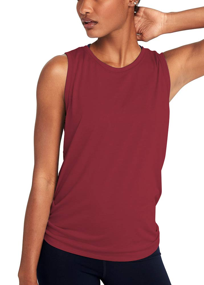 Mippo Women's Sexy Workout Tank Tops Muscle Mesh Shirts Loose Fit Sleeveless High Neck Open Back Shirts Yoga Tank Tops Exercise Gym Sports Hiking Tee Shirts Summer Clothes Wine Red M by Mippo (Image #3)