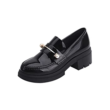 Amazon.com   Women s Spring Casual Shoes Patent Leather Round Toe ... 98eac30c49