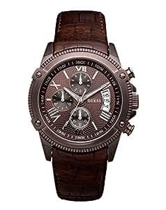 Guess W18543G1 - Reloj analógico de caballero de cuarzo con correa de piel marrón