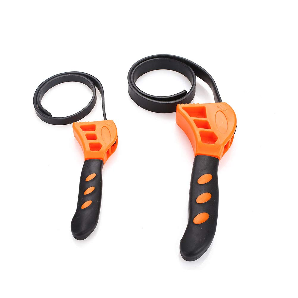 Belt Wrench Tool Strap Spanner Tool Rubber Multi-Function Belt Wrench Oil Filter Auto Oil Filter Opener 2PCS Leaftree