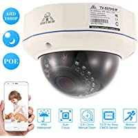 "KKmoon COTIER 1080P HD Dome POE IP Camera 2.8~12mm Auto-Focus Manual Varifocal Zoom Lens 2.0MP 1/2.8"" for Sony CMOS IR-CUT 30pcs IR Lamps Support Phone APP Control Motion Detection Night Vision"