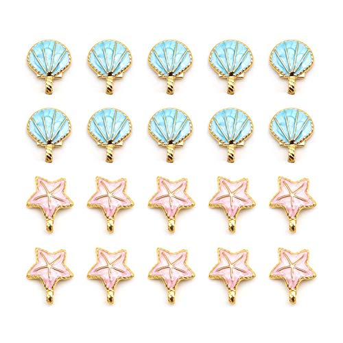 - 20 pcs Seashell Starfish Charms, Starfish Metal Beads, Alloy Charms Pendants for Jewelry Making and Crafting (Blue and Pink)