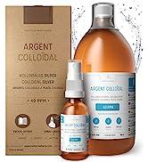 Premium Colloidal Silver 40ppm 34 fl oz ● Optimal Concentration Formula, Smaller Particles, Bette...