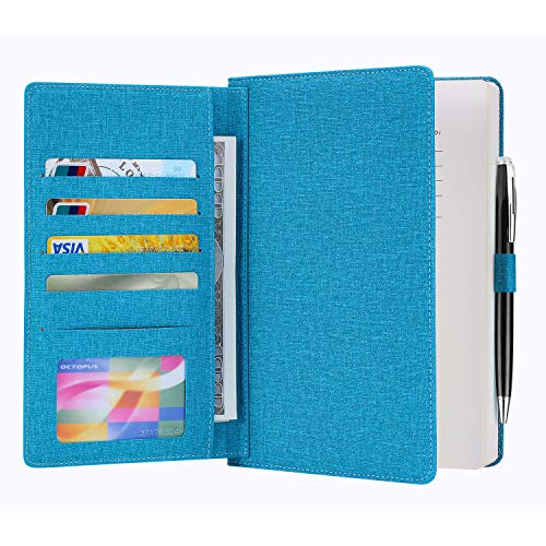Cloth Cover Notebook, Re-sport A5 Premium Thick Paper Lined Notepad Hardcover Notebook Journal 100 Sheets/ 200 Pages with Inner Pocket, Page Dividers, Pen Holder, Cloth Buckle (8.5x5.9in)]()