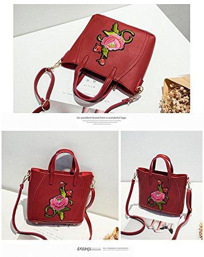 Aoligei Broderie sac à main femme Simple bandoulière sac centaines classique oblique sac B
