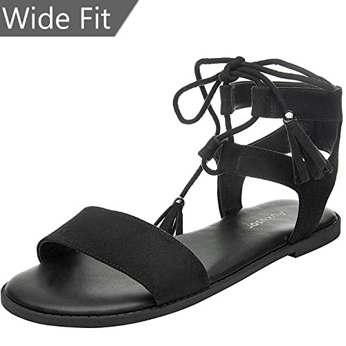 Women's Wide Width Flat Sandals - Comfortable Lace up Ankle Strap Casual Shoes.(180308 ()