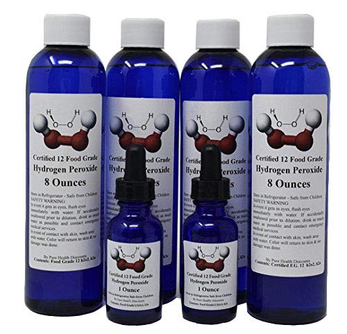35% diluted to 12% Food Grade Hydrogen Peroxide 8 Fl Oz Plus 1 Fl Oz  pre-Filled Dropper Bottle (PHP)  Recommended by One Minute Cure & True  Power of