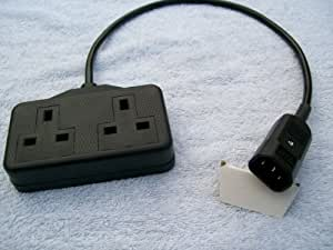 Power cable - IEC C14 plug - 13A twin socket - 40 cm by DGRPRODUCTS