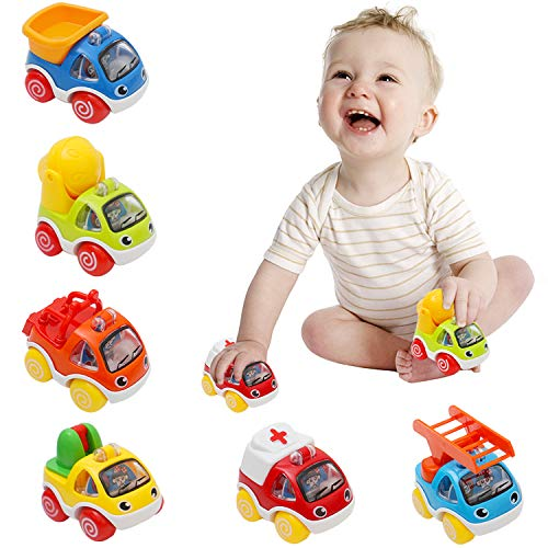 AMILE Pull Back Cars for Kids Friction Powered Cars Early Educational Toddlers Baby Toys Fire Engineering Construction Vehicles for 1 2 3 Years Old Boys - 6 Pieces