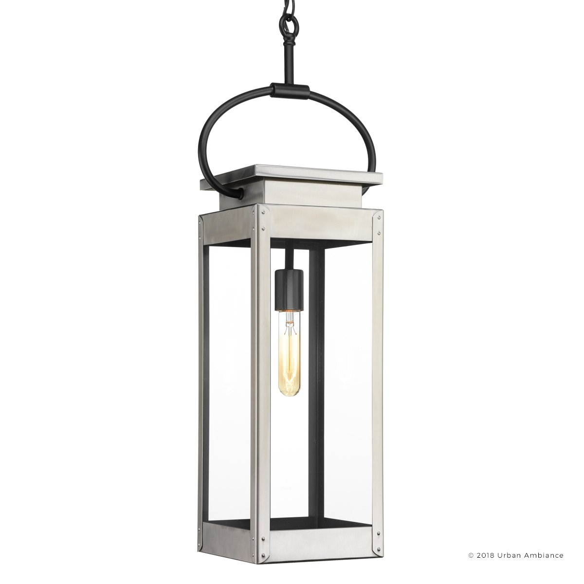 Luxury Modern Farmhouse Outdoor Pendant Light, Large Size: 27.375''H x 7''W, with Nautical Style Elements, Stainless Steel Finish, UHP1134 from The Darwin Collection by Urban Ambiance