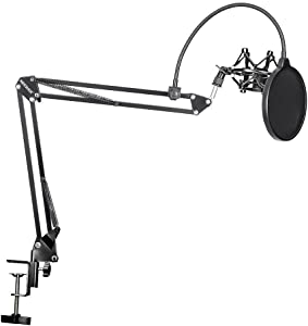 Neewer NB-35 Microphone Suspension Boom Scissor Arm Stand with Mic Clip Holder and Table Mounting Clamp & NW(B-3) Pop Filter Shield & Metal Microphone Shock Mount Kit