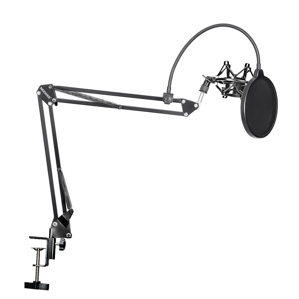 Neewer® NB-35 Microphone Suspension Boom Scissor Arm Stand with Mic Clip Holder and Table Mounting Clamp & NW(B-3) Pop Filter Windscreen Mask Shield & Metal Microphone Shock Mount Kit
