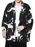 Lavnis Men's Kimono Cardigan Casual Cotton Linen Seven Sleeves Open Front Coat XL