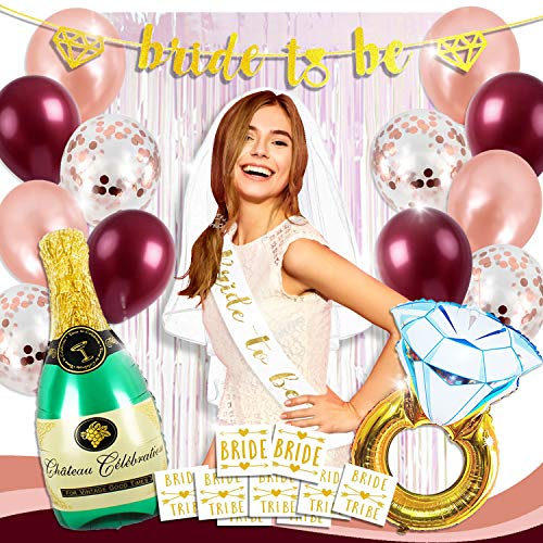 Bachelorette Party Decorations Bridal Shower Supplies Kit | Bride to be Sash + Banner, Fringe Curtain Decor, Veil, Rose Gold Confetti Balloons Set, Champagne Ring Foil Balloon Pack