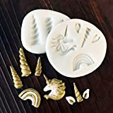 gourmet cookie cutters - Astra Gourmet Set of 2 Magic Unicorn Theme Silicone Fondant Cake Embossing Molds Cupcake Cookies Cutter Mould DIY Sugarcraft Baking Decorating Tools (Unicorn Horn/Unicorn/Ears/Rainbow)