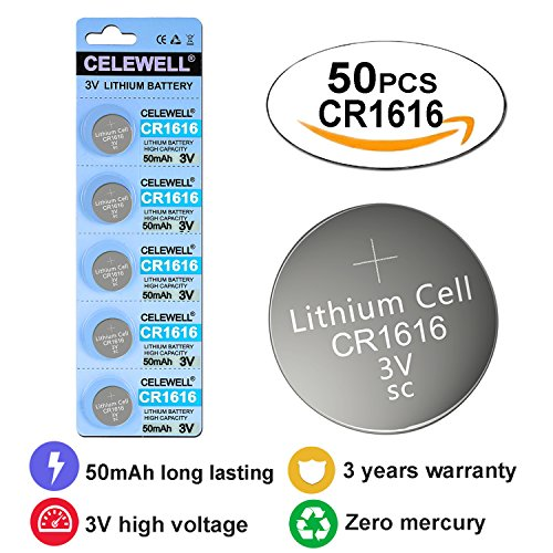 CR1616 3V Lithium Coin Cell Battery For LED Lights/Car Remotes 50 mAh 50 Pack CELEWELL Brand 3 Years Warranty